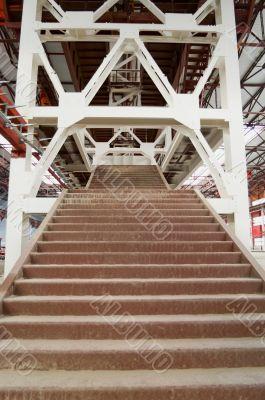 Industrial steel staircase in works