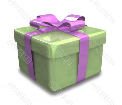green gift with purple wrap - 3d made