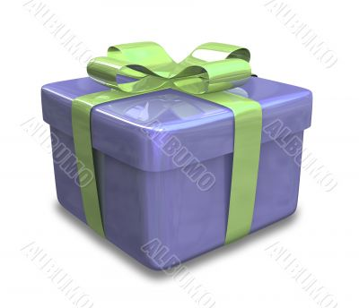 blue gift with green wrap - 3d made