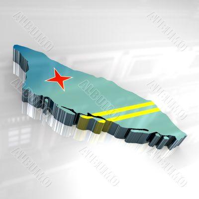 3d flag map of Aruba