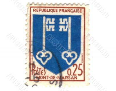 Mont de Marsan City Coat of Arms Postage Stamp