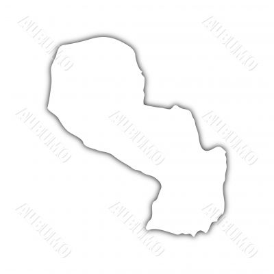 map of paraguay with shadow