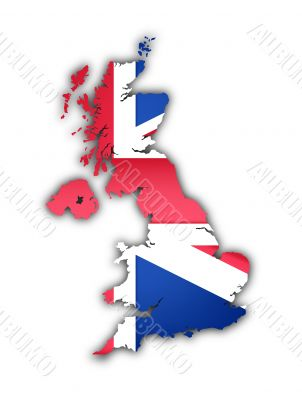 flag and map of the united kingdom