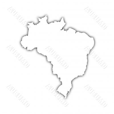 map of brazil with shadow