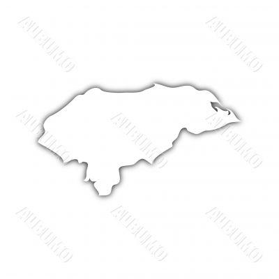 white map of honduras on black shadow
