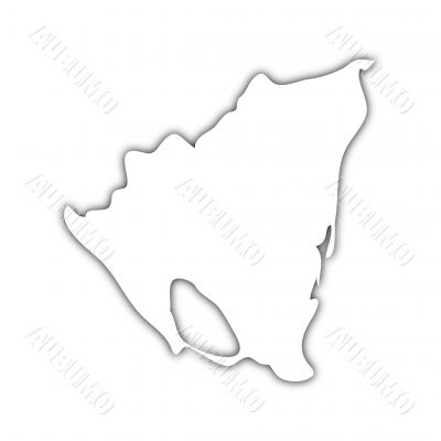 map of nicaragua with shadow