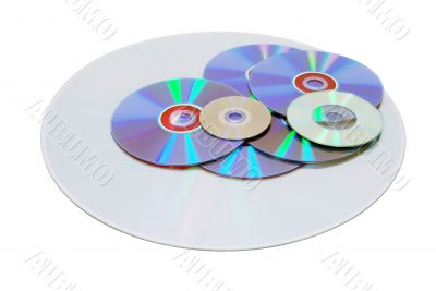Various size and formats of disks