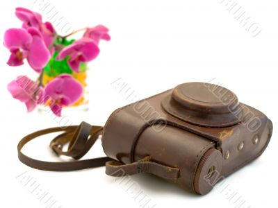 old photocamera  accessories and pink orchid