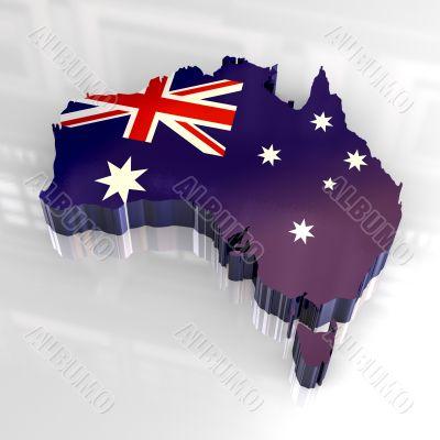 flag map of australia - 3d made