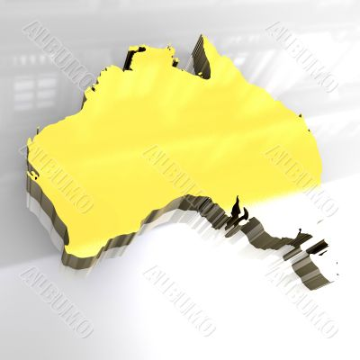 golden map of australia - 3d made