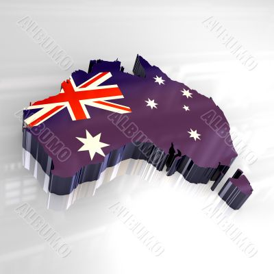 flag map of australia - 3d made