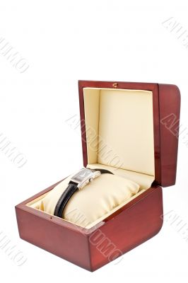 female silver watch in a wood gift box