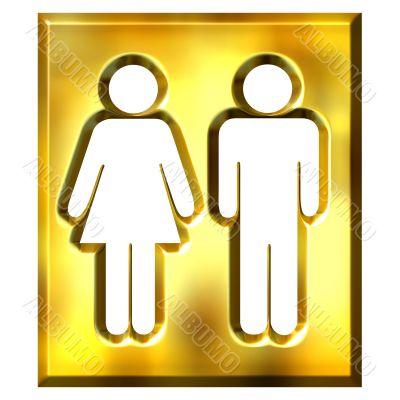 3D Golden Unisex Sign