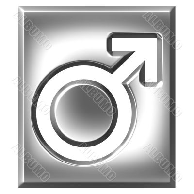3D Silver Male Symbol Sign