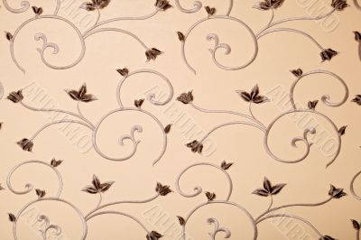 Beige leather with floral ornament