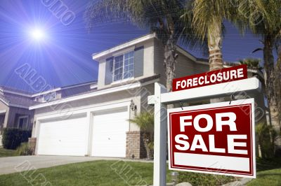 Red Foreclosure For Sale Real Estate Sign and House