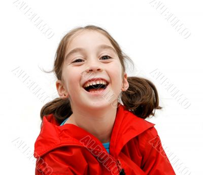 Laughing girl with pigtails