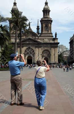 Couple of tourists in Santiago, Chile