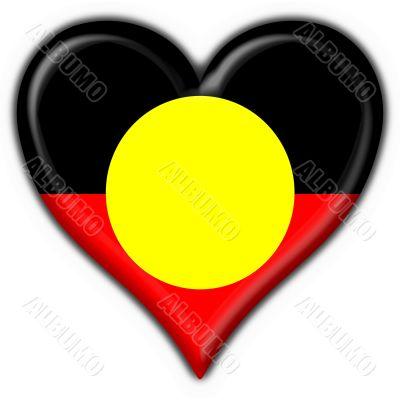 Australian Aboriginal button flag heart shape