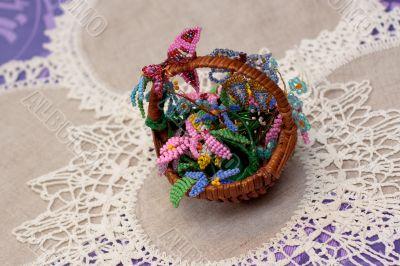 little crib with handmade flowers