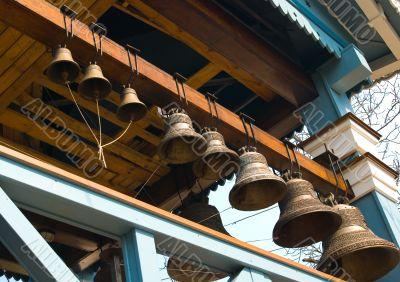 Belfry with 8 bells close-up.