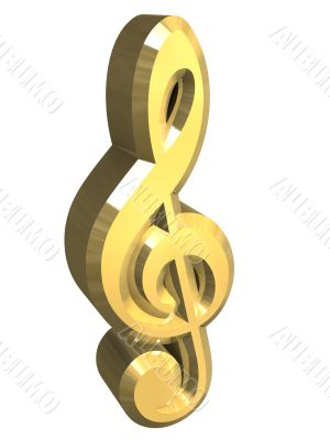 music key symbol in gold - 3D