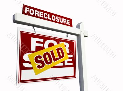 Red Sold Foreclosure Real Estate Sign on White