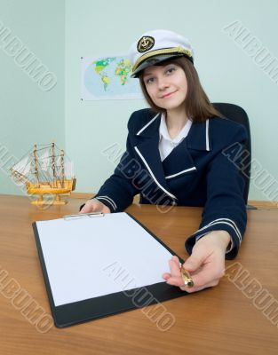 Girl in a sea uniform with tablet