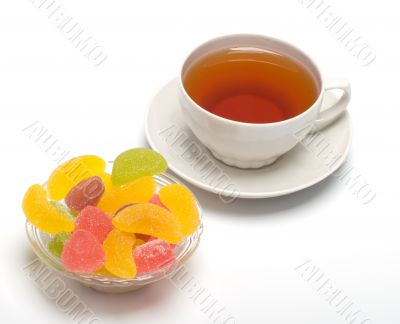 Fruit candy and tea