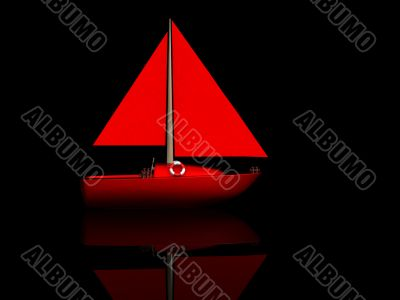 ship. 3D yacht sport icon
