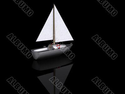ship. 3D yacht sport icon