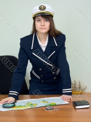 Woman in uniform with geographic map