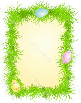 Vector illustration of eggs in grass