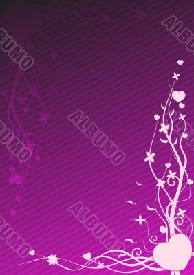 Vector illustration of purple wallpaper with heart