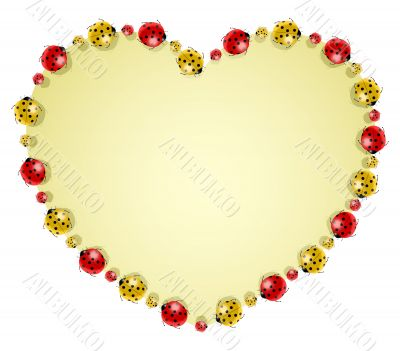 Vector illustration of ladybugs forming heart