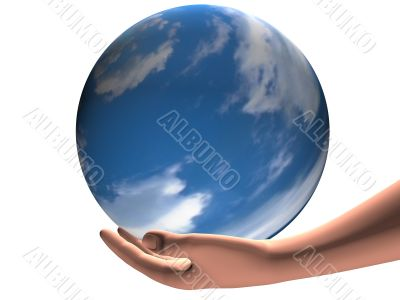 hand holding world sphere