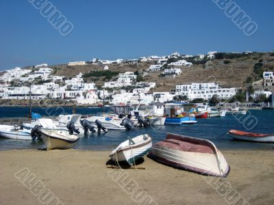 waterfront of Mykonos island