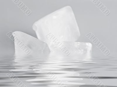 ice cube on the water