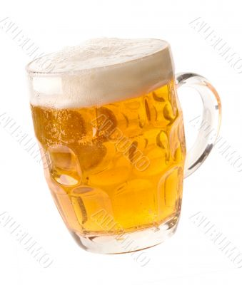 Alcohol light beer mug with froth and bubbles