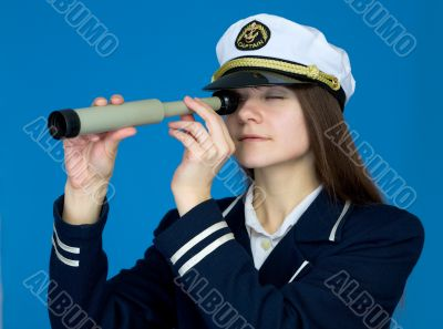 Portrait of the woman - captain with telescope