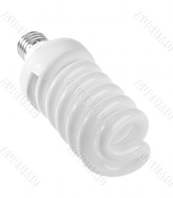 Electrical fluorescent energy-saving lamp on white