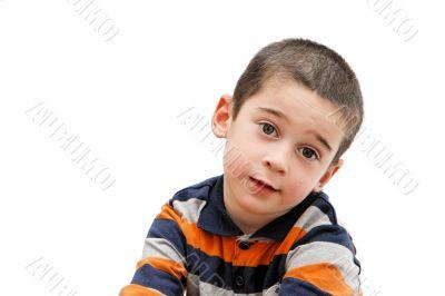 Serious cute little boy