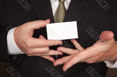 Businessman Holding Blank Business Card