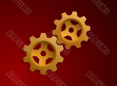 Vector illustration of golden gears