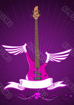 Vector illustration of modern bass guitar