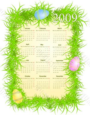 Vector illustration of Easter calendar