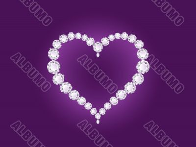Vector diamond heart on violet background