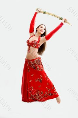 Belly dancer in red