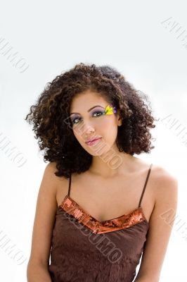 Brunette with flower makeup