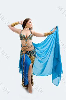Belly dancer in blue